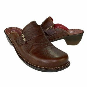 Josef Seibel Womens Clog Shoes Brown Wedge Heel Ro
